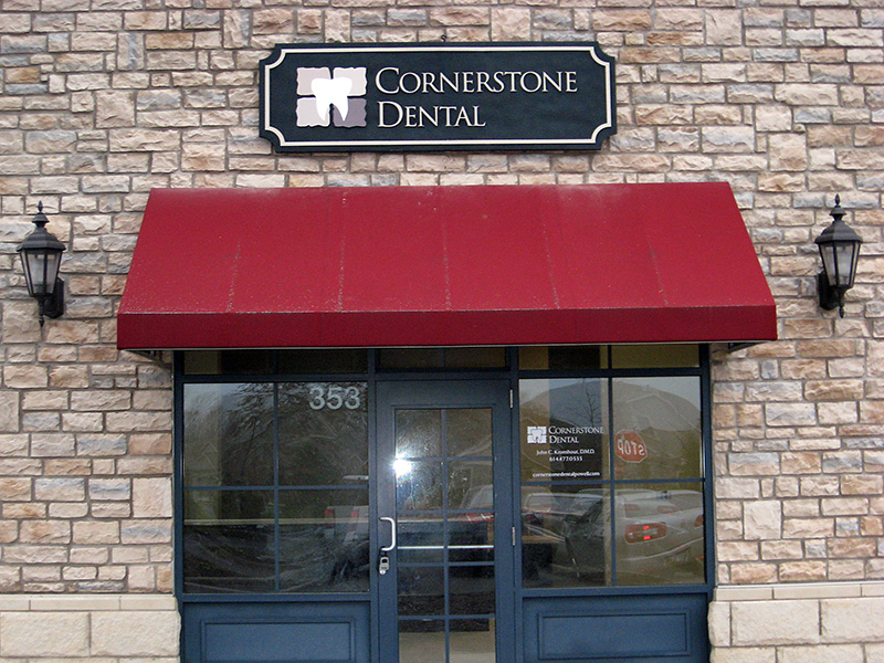 Cornerstone Dental Sandblasted Sign
